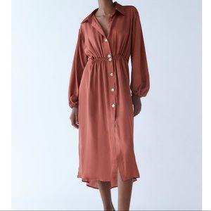 Zara Satin Effect Shirt Dress